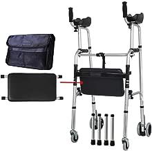 Renxiarx Folding Lightweight Aluminium Walking Frame with Wheels,Walking Zimmer Frame Walker - Adjustable Height,Wheeled Walking Frame with Carry Handle and Flip Up Seat