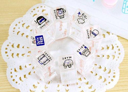 Ensemble de 8 Mini cristal timbres personnalisés Timbres Tampons encreurs