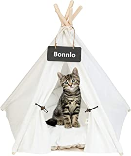 Bonnlo Pet Teepee Dog(Puppy) & Cat Bed - Portable Dog Tents & Pet Houses for Puppy or Cat with Thick Cushion and Blackboard
