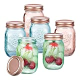 SUNNOW Vastto 15 Ounce Chromatic Engraved Mason Jar with Lid and Band,Set of 6 (Bright-hued)