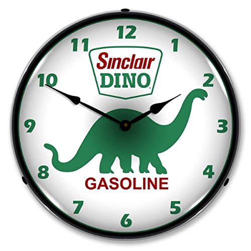 The Finest Website Inc. New Sinclair Dino Retro Vintage Style Advertising LED Lighted Clock - Ships Free Next Business Day to Lower 48 States