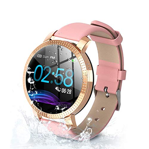 Fitnessuhr für Frauen, Fitness Tracker Touchscreen Smartwatch IP68 wasserdichte Smartwatch mit Herzfrequenz-Schrittzähler Schrittzähler Schlafstoppuhr für iOS Android Phone (Pink)