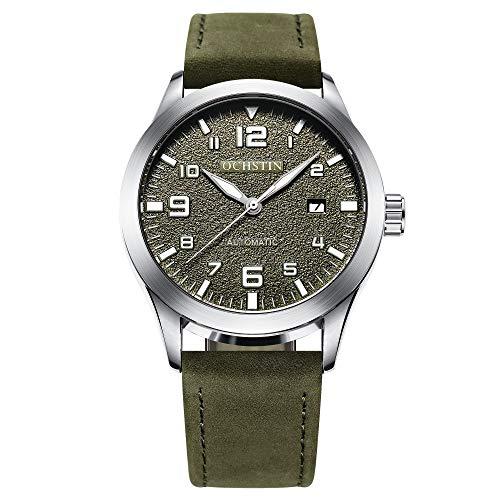Ochstin, orologio militare automatico da uomo, con datario, cinturino in pelle meccanico, colore verde