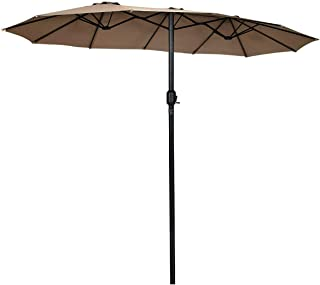 Tangkula 15 Ft Patio Umbrella Double-Sided Outdoor Market Table Umbrella with Crank (Coffee)