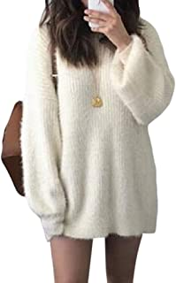 Women's Round Neck Warm Loose Knitted Long Sleeve Shaggy Pullover Jumper Sweater