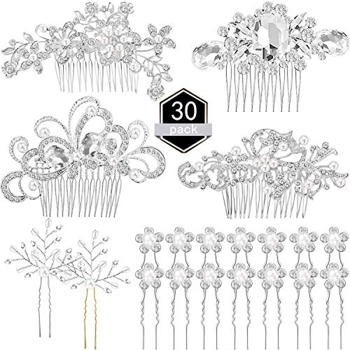 30 Pieces Wedding Bridal Hair Accessories Set 4 Pieces Rhinestone Wedding Hair Side Combs, 2 Pieces U-shaped Silvery Hair Clips, 24 Pieces Imitation Pearl Hairpins