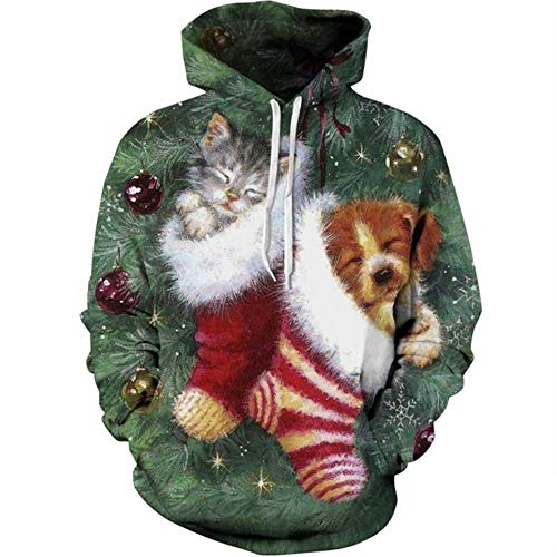 AKQJO Unisex Christmas Hoodie Sweatshirts Surprise Costume (SD 9, M)