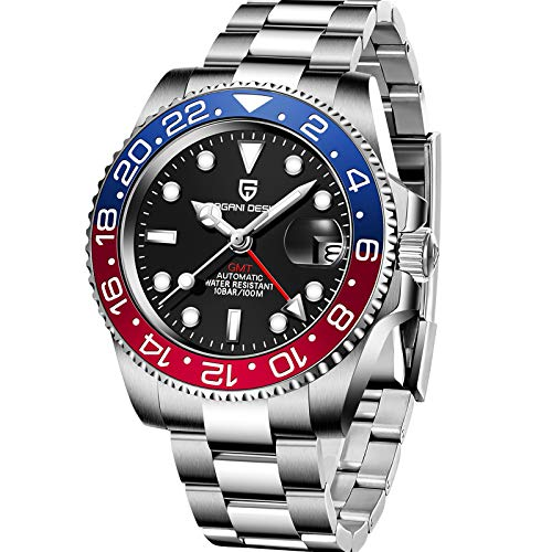 Pagani Design Men's GMT Automatic Watch Sapphire Glass Fashion Business Stainless Steel Watch (Blue red)