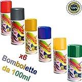 Palucart 6 bombolette Spray Colore Capelli temporaneo Colori Assortiti colora i Tuoi Capelli per Feste Party Bambini e Ragazzi lacca Colorata