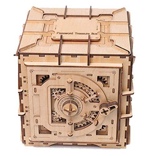3D-Puzzle DIY zusammengebautes Spielzeug 3D-Montag Puzzle aus Holz Mechanische Getriebe Cipher-Box-Modell ist sehr geeignet for Kinder und Freunde Familie (Farbe: Bild Farbe, Größe: 17x17x17cm) 8bayfa