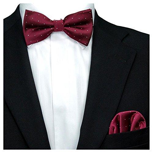 GASSANI 2Tlg Fliegenset, Festliche Wein-Rote Herren-Fliege Silber Gepunktet, Hochzeitsfliege Anzug-Schleife Vor-Gebunden Ein-Stecktuch Vorgefaltet