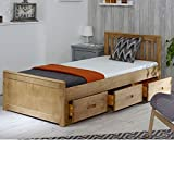 Happy <span class='highlight'><span class='highlight'>Bed</span>s</span> Mission Wooden Solid Waxed Pine <span class='highlight'>Storage</span> <span class='highlight'>Bed</span> Drawers Furniture Frame 3' Single 90 x 190 cm