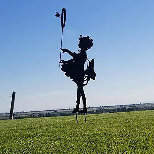 Yezytech Filles Papillon Yard Art Jardin Statues Métalliques Déco,décoration De Jardin,Deco Jardin Exterieur Metal,Art De Jardin Et Sculpture Commémorative- Jardin Figurines à Lextérieur