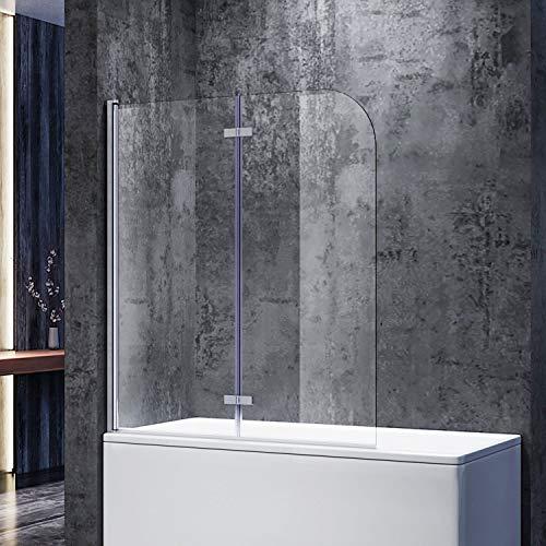 SONNI Duschwand für Badewanne 120x140 cm(BxH) badewannenfaltwand 2-teilig Faltbar 6 mm NANO-GLAS Duschabtrennung Badewanne