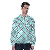 柔らかい カンガポケットの長袖と丸い白緑の格子縞の描かれた男性のためのフード付きスウェットシャツ (Color : Mixed color, Size : 4XL)