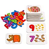 kizh Numbers and Alphabets Flash Cards Set,Wooden Letters and Numbers Animal Card Board Matching Puzzle Game Montessori Educational Toys Gift for 1 2 3 Years Old Toddlers Boys Grils