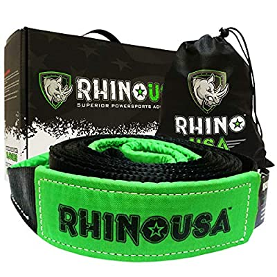 """Rhino USA Recovery Tow Strap 3"""" x 30ft - Lab Tested 31,518lb Break Strength - Heavy Duty Draw String Included - Triple Reinforced Loop Straps to Ensure Peace of Mind - Emergency Off Road Towing Rope"""