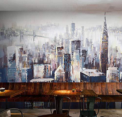 Murales Tropicales Dibujado A Mano Ciudad De Nueva York Pared Papel 3D Papel Pintado Dormitorio Sala Tv Fondo Decoración De Pared Decorativos Murales 120Cmx100Cm