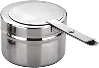 BESTONZON 1PC Stainless Steel Fuel Holder/Wick Fuel and Sterno Canned Heat Holder with Safety Cover,Suitable for Buffets/Barbecue