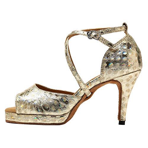 HROYL Zapatos de Baile Latino Mujer con Plataforma Comodos Tacon Alto Salsa y Bachata,Modelo YCL225-10-Oro,EU 35