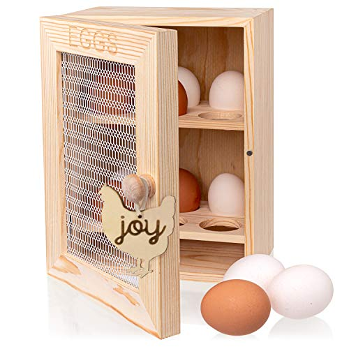 OkayJo - Egg Storage - Wooden Egg Holder - Farmhouse Kitchen - Egg Organizer - 12 Eggs - Egg Stand - Egg Rack - Fresh Egg Holder - Chicken Egg Holder - Egg Baskets for Fresh Eggs