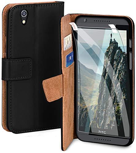 moex Premium 360 Grad Schutz Set passend für HTC Desire 820 | Solider Handy Komplett-Schutz [Hülle + Folie] Beidseitige Abdeckung mit Handytasche & Schutzfolie, Schwarz