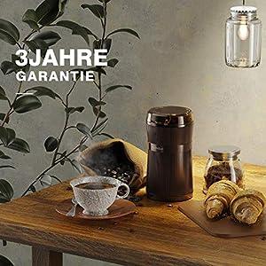 Kaffeemühle Elektrische, HadinEEon 200W Tragbare Waschbare Elektrische Kaffeebohnen und Gewürzmühle mit Edelstahlklingen und Bürste Getreidemühle Grinder für Korn, Kräuter, Würzen, Unkraut