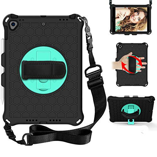 BAUBEY Kids Case for iPad 10.2 2020/2019 / iPad Air 10.5 2019 / iPad Pro 10.5,Drop & Shockproof Hybrid Case with 360 Rotating Stand Hand Strap Shoulder Strap Kids Tablet Cover (Black+Aqua)