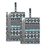 Hunihuni Bolsa de viaje para zapatos de viaje geométrico étnico azteca patrón impermeable portátil organizador bolsas con cremallera, 2 unidades