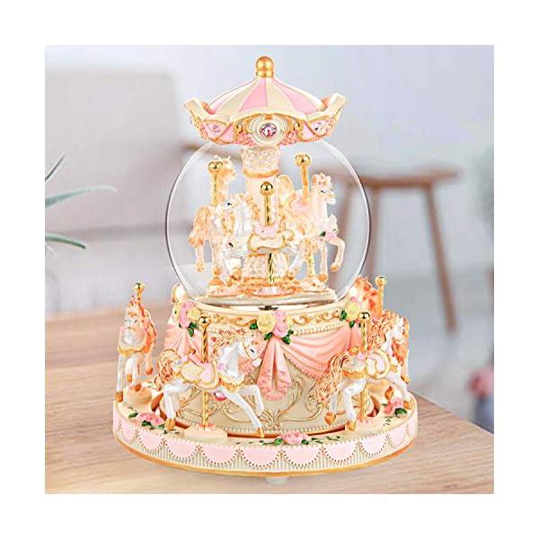 Carousel Snow Globe Music Box - 8 Horse Blue Snowglobe Anniversary Christmas Birthday Gift for Wife Daughter Girlfriend… 8
