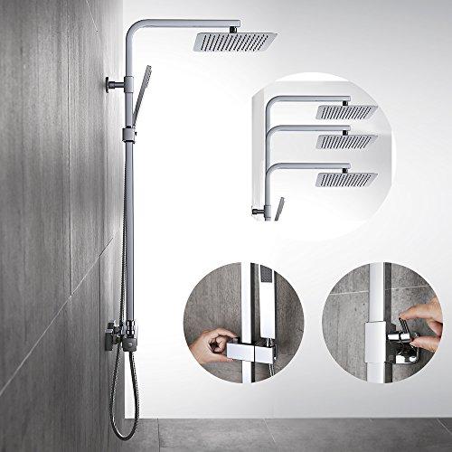 Homelody – Thermostat-Duschsystem mit Brausegarnitur, Regenbrause, eckig, Chrom - 4