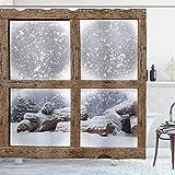 Aliyz Cortinas de Ducha de Invierno Marco de Madera nevado rústico Vista de Ventana impresión cabaña de montaña día de Navidad Tela fría decoración de baño Duradera fácil de Limpiar Tela Impermeable