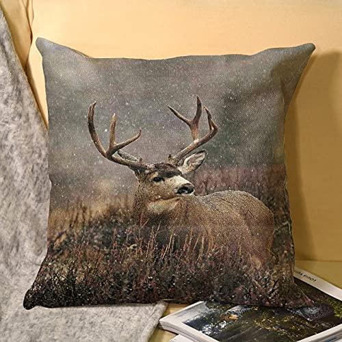 best & Funda de almohada de lino de ciervo con cuernos grandes, funda de almohada para decoración de hogar, sofá, dormitorio, 45 x 45 cm