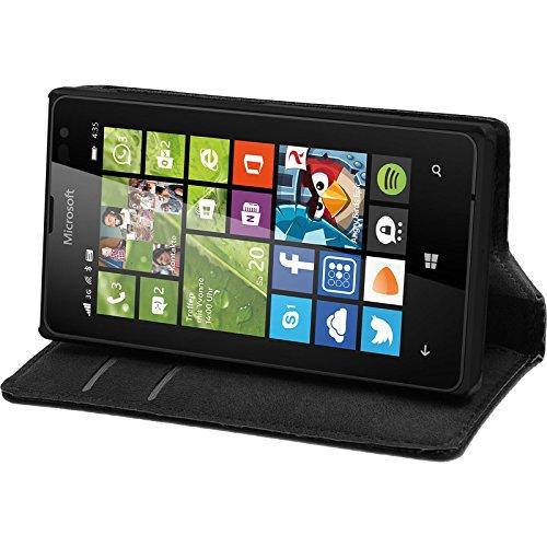 PhoneNatic Kunst-Lederhülle kompatibel mit Microsoft Lumia 435 - Book-Hülle schwarz + 2 Schutzfolien