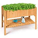 Giantex Raised Garden Planter Bed Box Stand Outdoor Wooden Elevated Garden Planter with Shelf and Drain Holes Deluxe Rectangle Raised Planter to Grow Plants