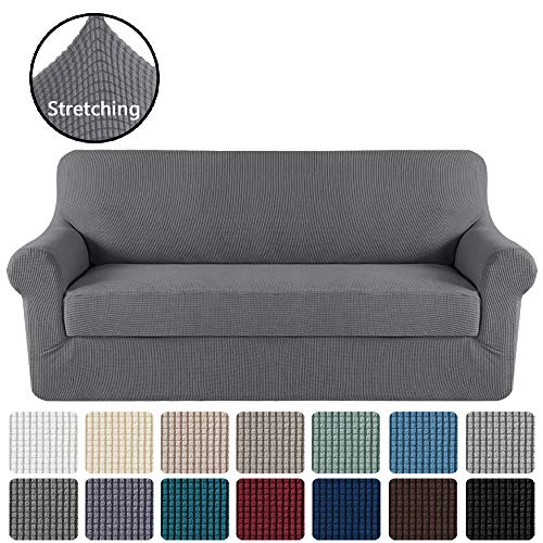 "Stretch Sofa Cover 2 Piece Sofa Slipcover Couch Cover Furniture Protector with Elastic Bottom, High Spandex Textured Lycra Small Checks Jacquard Fabric Washable(Sofa 72""-96"", Charcoal Gray)"