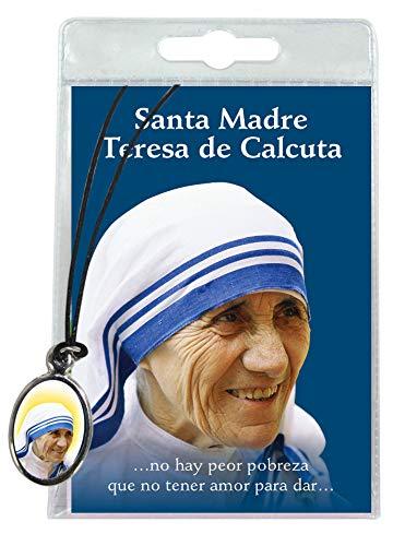 Medalla Madre Teresa de Calcuta con cordón y oración en español