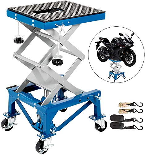 VEVOR Motorcycle Jack, Hydraulic Motorcycle Scissor Jack with 300LBS Load Capacity, Portable Lift Table, Adjustable Motorcycle Lift Jack, Blue Motorcycle Lift Stand with Lockable Casters