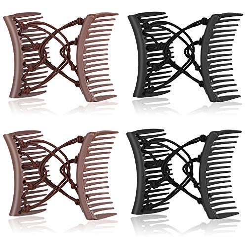 4 Pieces Stretchy Double Comb Hair Clip Adjustable Elastic Hair Comb No Crease Hair Pins Hair Accessories for Women Curly Thick Wavy Hair Ponytail (Black, Coffee)