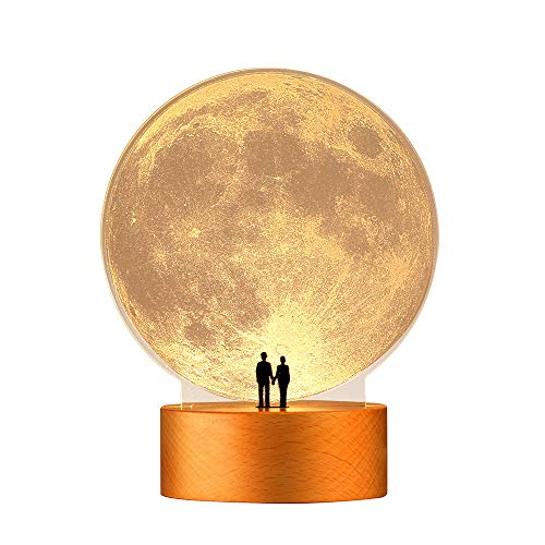 Lampada da Notte Luna Regalo di San Valentino Anniversario Matrimonio Decorazione d arte, Sotto il Supermoon dell amore (Non ricaricabile)
