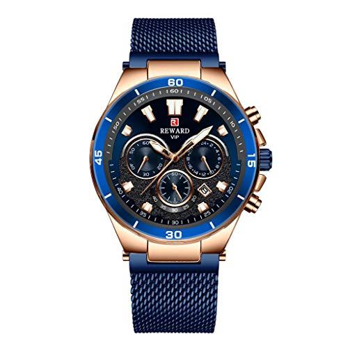 joyMerit メンズウォッチ防水マルチファニオン腕時計ステンレススチールメッシュストラップカジュアルウォッチアナログクォーツ時計 - 青, 4.5cm