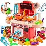 HERSITY Kinderküche mit Sound Licht Spielküche Zubehör Herd Spielzeug Lebensmittel Kinder Küchenspielzeug Geschenke für Mädchen Jungen ab 3 4 5 Jahre