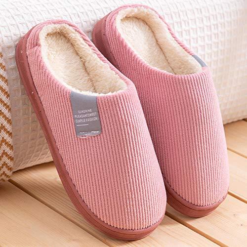 B/H Slippers Calienta y Cómodo,Calzado Interior de Pana, Pantuflas de algodón para el Piso de otoño e Invierno-Red_38-39