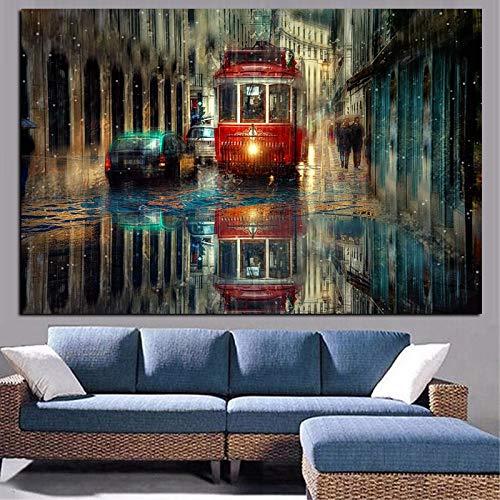 Flduod Pintura al óleo de Paisaje de Calle de Ciudad Retro en Lienzo pósteres e Impresiones artísticos Cuadro de Pared escandinavo para decoración de Sala de Estar
