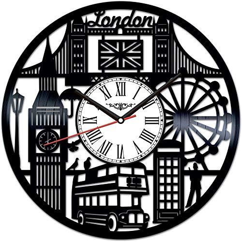 TJIAXU Reloj de Pared con Disco de Vinilo de Londres,decoración única para el hogar, Regalo Hecho a Mano para Hombres, Mujeres, Amigos, niños