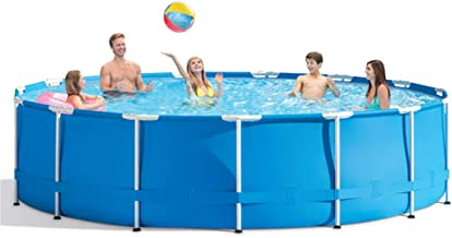 Round Frame Swimming Pool,Metal Frame Paddling Pool Three-Layer Clip Net PVC Plastic Steel Pipe 120.07in*29.92in, above ground oval swimming pools for family