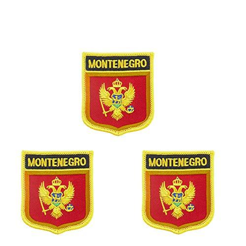 3 Stück Montenegro-Flagge bestickt in Schild-Form zum Aufbügeln oder Aufnähen.