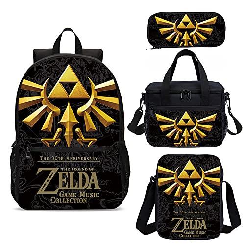 The Legend of Zelda - Mochila 3D de 4 piezas, diseño de The Legend of Zelda con estampado de The Legend of Zelda Mochila escolar + Comidas + Mochila + Estuche (07)