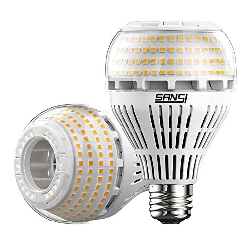 SANSI Bombilla LED E27, luz blanca cálida, 27 W (equivalente a una bombilla de 250 W), regulable, 3000 Kelvin, 4000 lúmenes, superbrillante, para lámpara de mesa, techo, garaje, dormitorio, 2