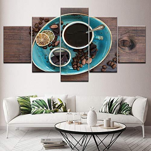 Wieoc Leinwanddrucke Leinwand Malerei Kaffee Kaffeebohne Schokolade 5 Stücke Wandkunst Malerei Modulare Tapeten Poster Print Für Wohnzimmer Decor Drucke auf Leinwand